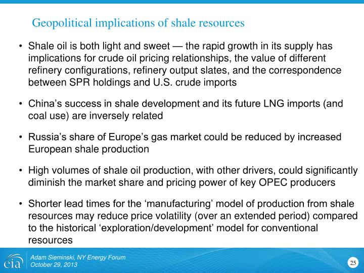 Geopolitical implications of shale resources