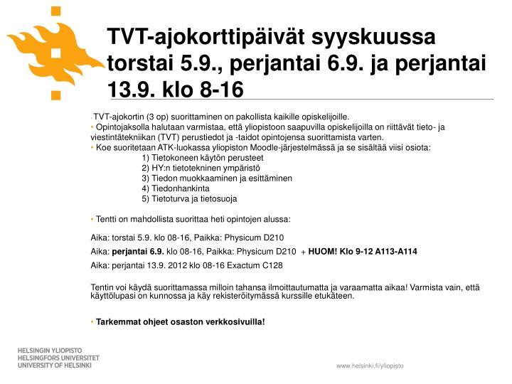 TVT-ajokorttipäivät