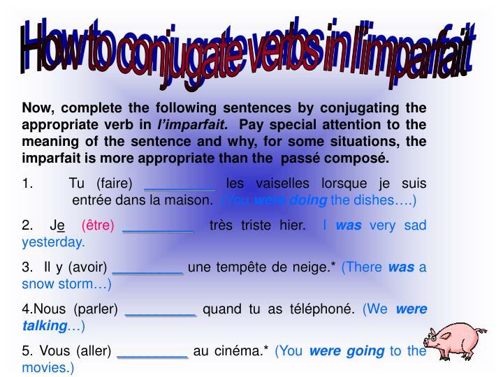 How to conjugate verbs in l'imparfait