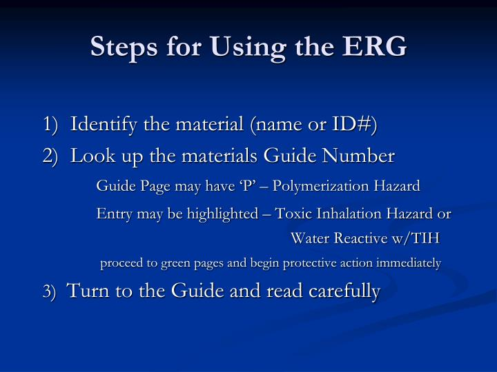 Steps for Using the ERG