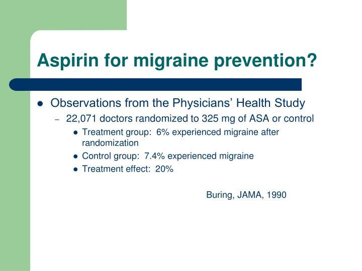 Aspirin for migraine prevention?