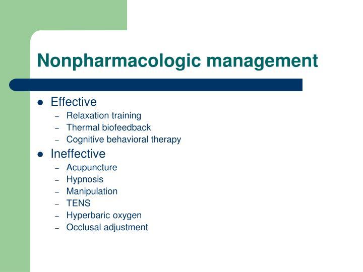 Nonpharmacologic management