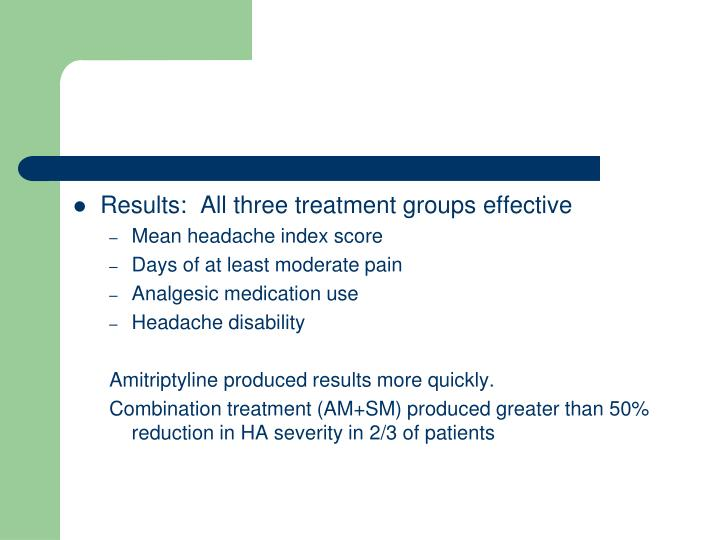 Results:  All three treatment groups effective