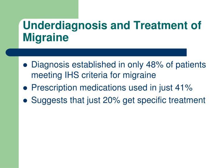 Underdiagnosis and Treatment of Migraine