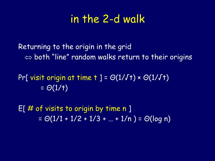 in the 2-d walk