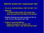 ana ifa results from experienced labs