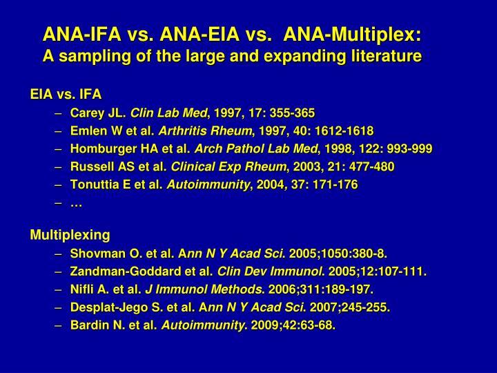 ANA-IFA vs. ANA-EIA