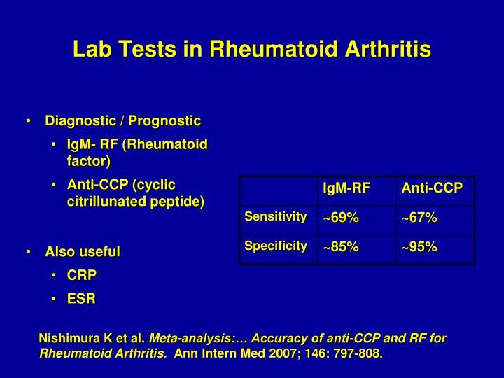 Lab Tests in Rheumatoid Arthritis