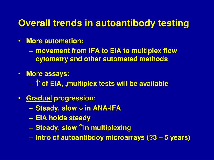 Overall trends in autoantibody testing