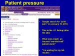 patient pressure