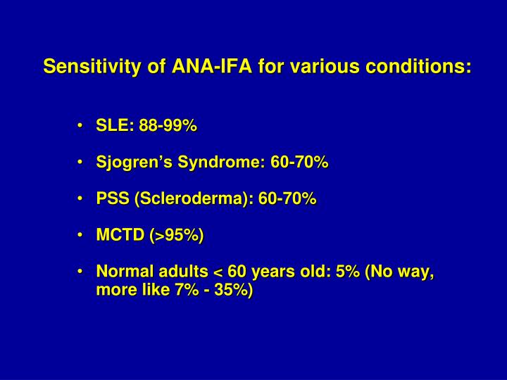 Sensitivity of ANA-IFA for various conditions: