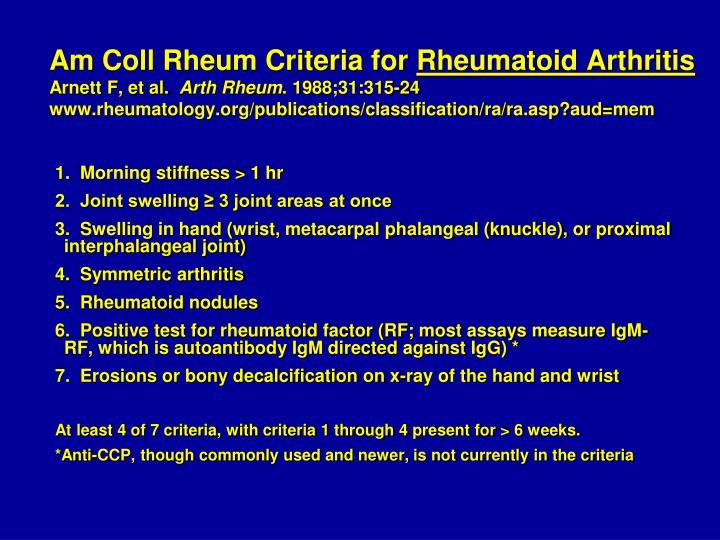 Am Coll Rheum Criteria for
