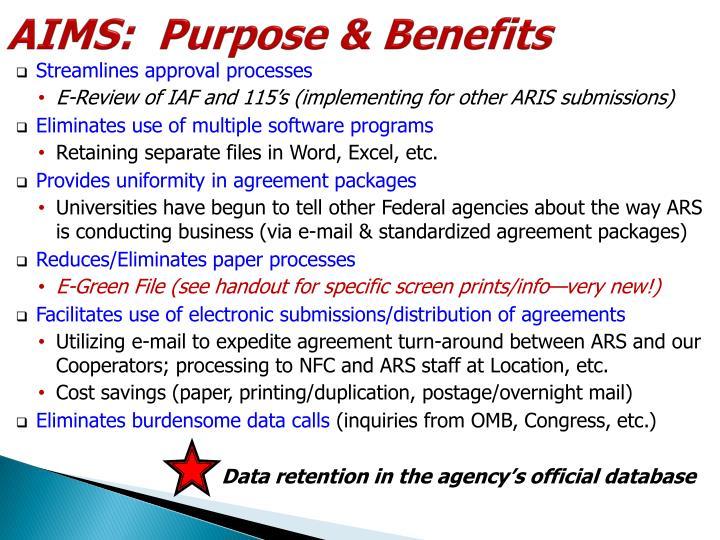 AIMS:  Purpose & Benefits
