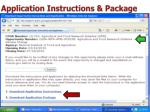 application instructions package