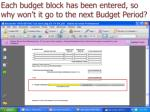 each budget block has been entered so why won t it go to the next budget period