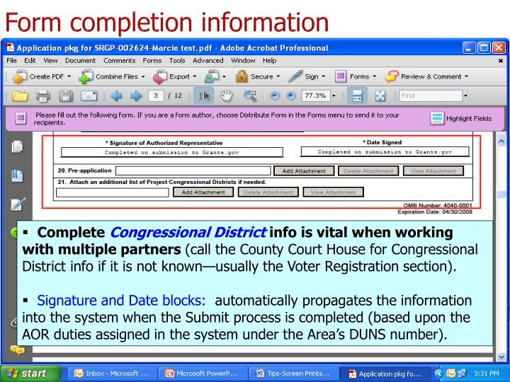Form completion information