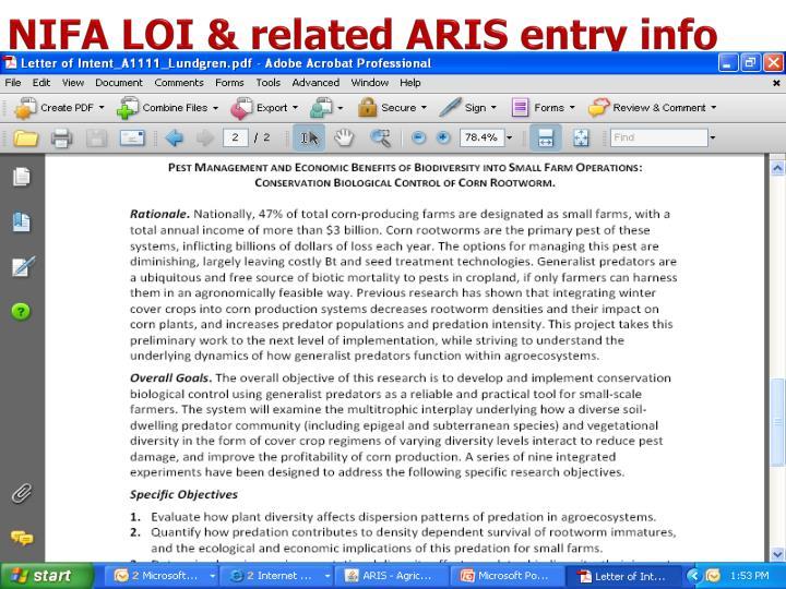 NIFA LOI & related ARIS entry info