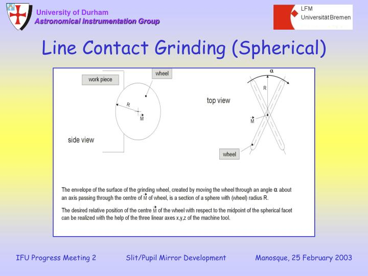 Line Contact Grinding (Spherical)