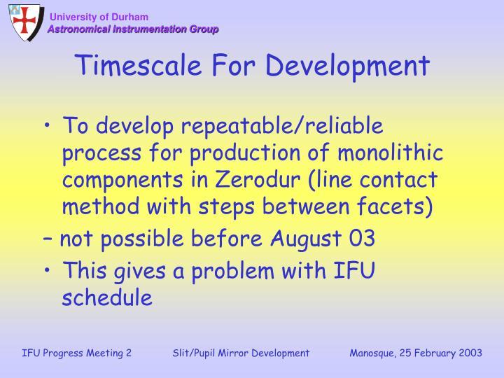 Timescale For Development