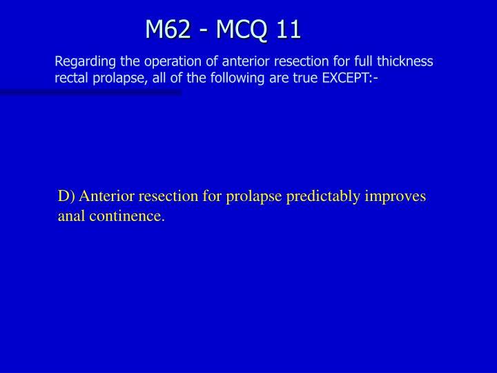 M62 - MCQ 11