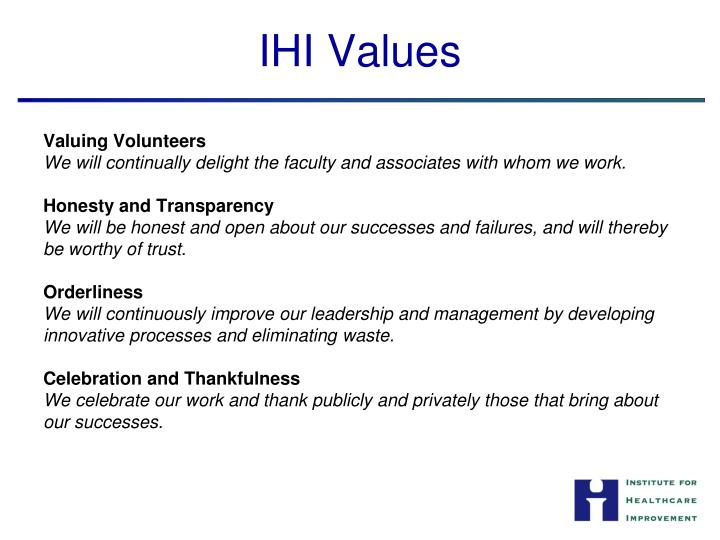 IHI Values