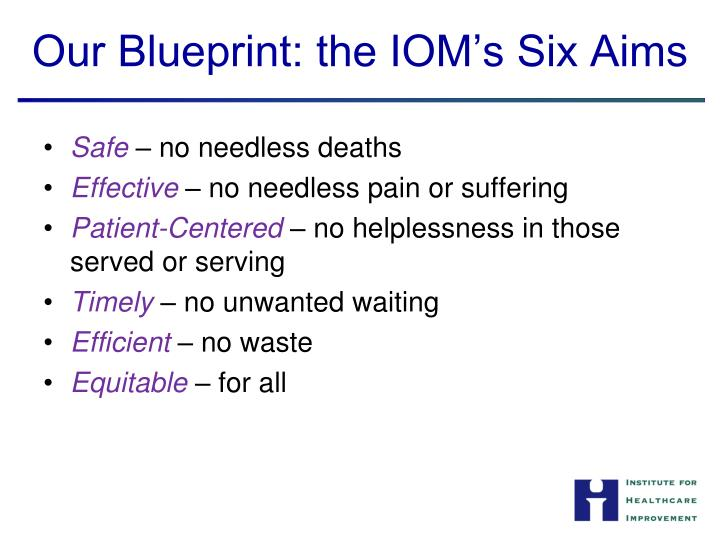 Our Blueprint: the IOM's Six Aims