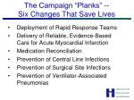 the campaign planks six changes that save lives