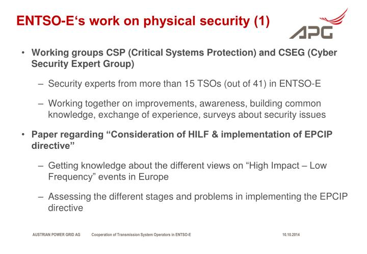 ENTSO-E's work on physical security (1)