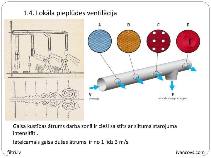 1.4. Lokāla pieplūdes ventilācija