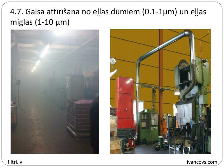 4.7. Gaisa attīrīšana no eļļas dūmiem (0.1-1µm) un eļļas miglas