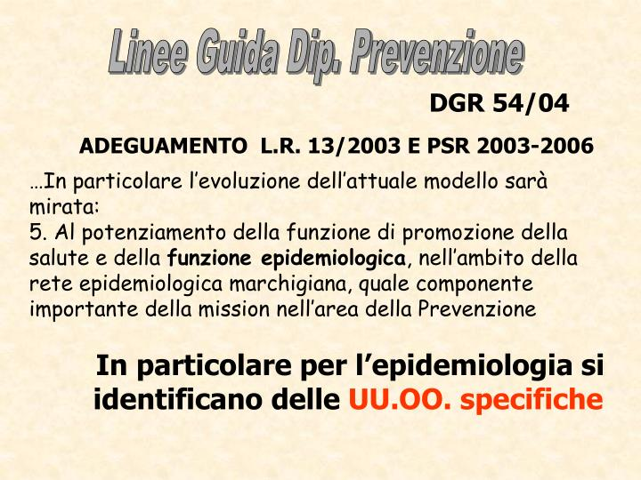 Linee Guida Dip. Prevenzione