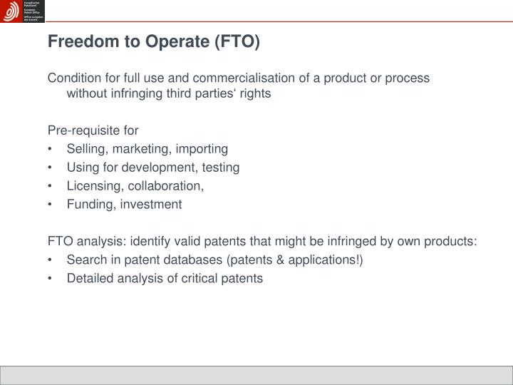 Freedom to Operate (FTO)