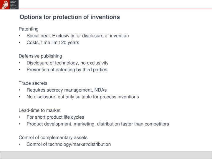 Options for protection of inventions