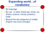 expanding world of vocabulary