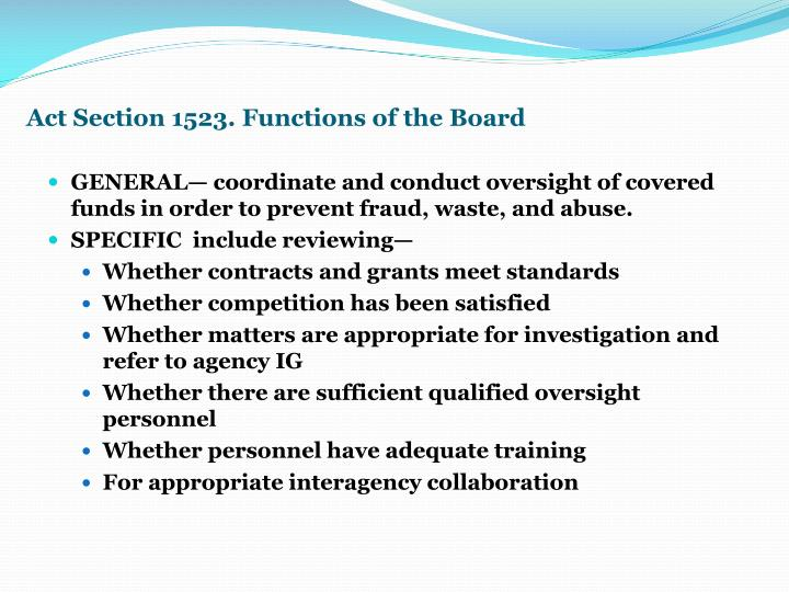 Act Section 1523. Functions of the Board