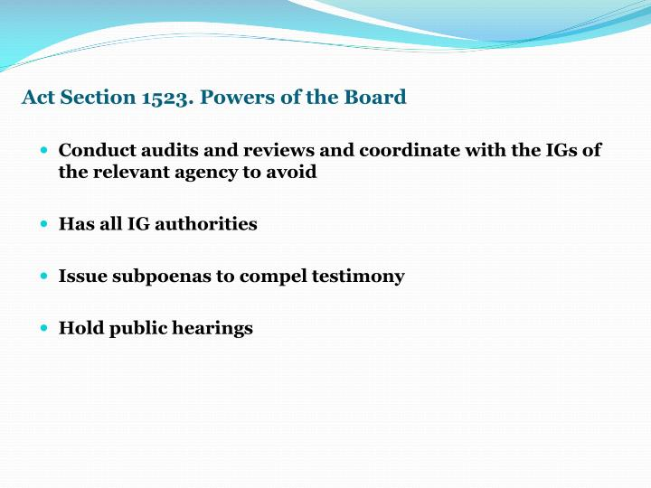 Act Section 1523. Powers of the Board