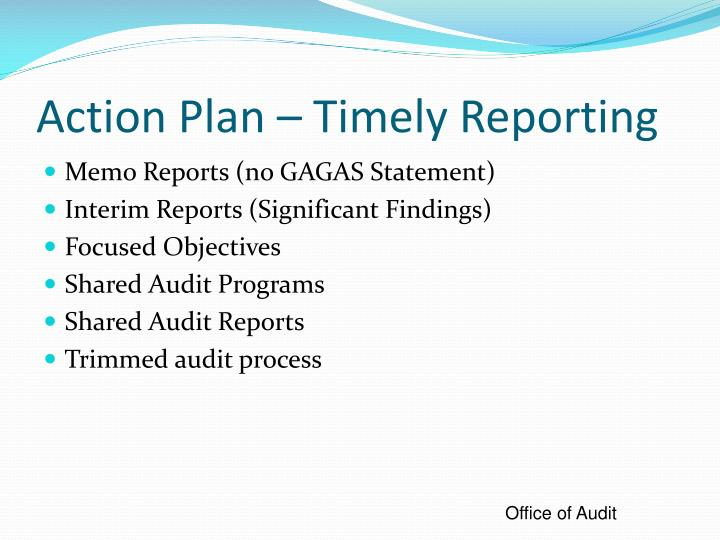 Action Plan – Timely Reporting