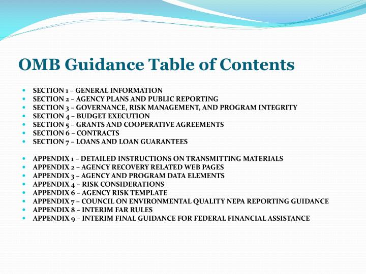 OMB Guidance Table of Contents