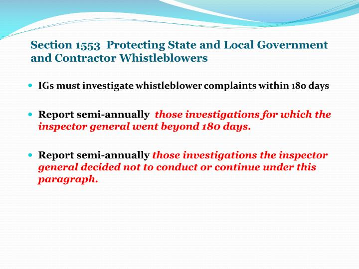 Section 1553  Protecting State and Local Government and Contractor Whistleblowers