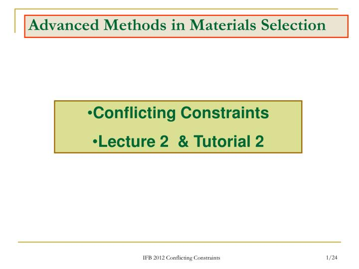 advanced methods in materials selection