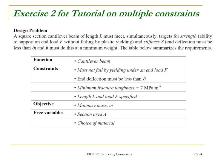 Exercise 2 for Tutorial on multiple constraints