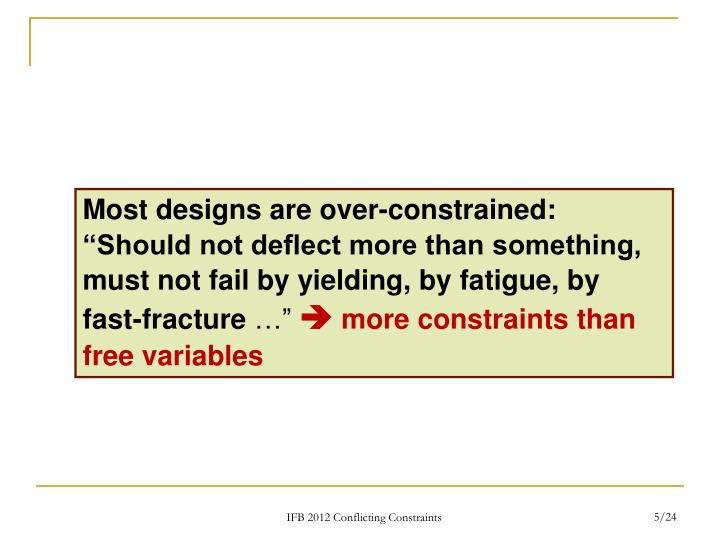 """Most designs are over-constrained: """"Should not deflect more than something, must not fail by yielding, by fatigue, by fast-fracture"""