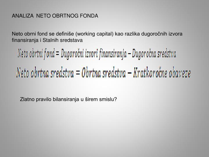 ANALIZA  NETO OBRTNOG FONDA