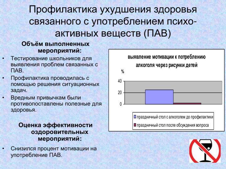 Профилактика ухудшения здоровья связанного с употреблением психо- активных веществ (ПАВ)