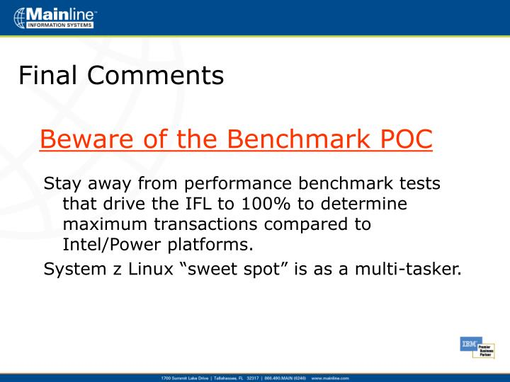 Beware of the Benchmark POC