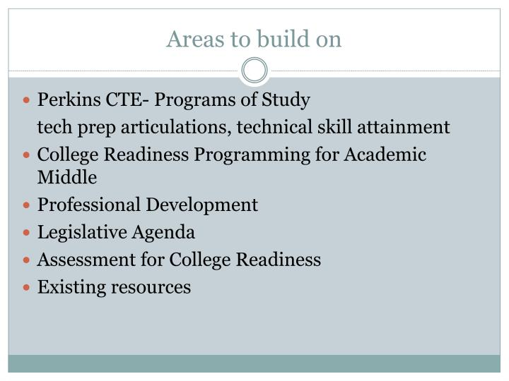 Areas to build on