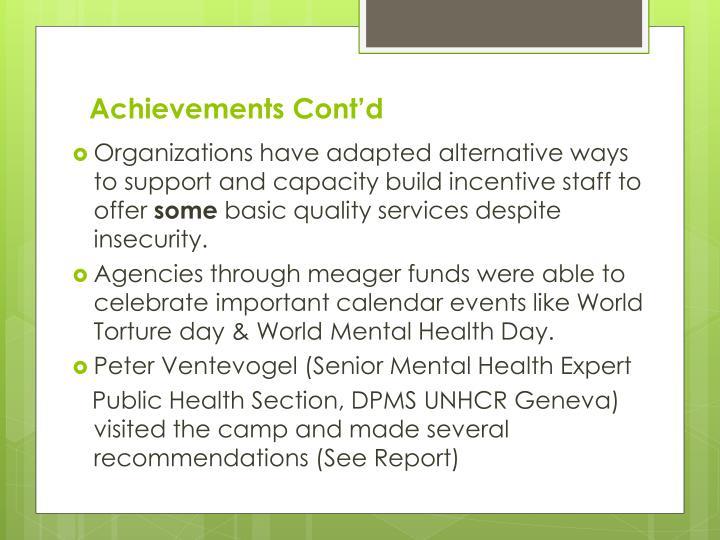 Achievements Cont'd