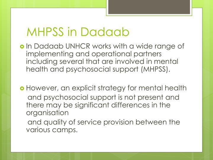 MHPSS in Dadaab