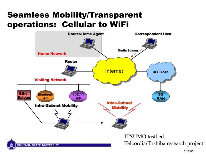 Seamless Mobility/Transparent operations:  Cellular to WiFi