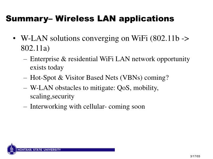 Summary– Wireless LAN applications